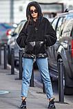 Черная куртка из плащевой ткани лакэ, иск меха тэдди  Размеры: S/M, L/XL, фото 2