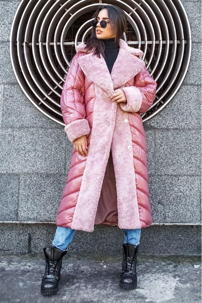 Женское пальто плащевка лакэ + иск мех размеры: M, L, XL цвет розовый