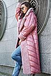 Женское пальто плащевка лакэ + иск мех размеры: M, L, XL цвет розовый, фото 2