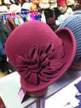 Фетровая  шляпа с полями и с украшением, фото 2