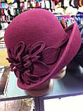 Фетровая  шляпа с полями и с украшением, фото 4