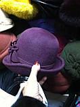 Фетровая  шляпа с полями и с украшением, фото 5