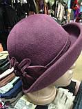 Фетровая  шляпа с полями и с украшением, фото 6
