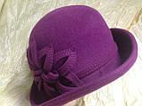 Фетровая  шляпа с полями и с украшением, фото 9