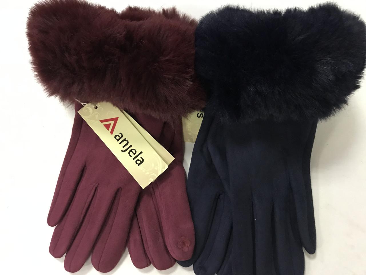 """Перчатки женские экозамша мех """"Сенсор"""" для телефонов бордовые и серые"""