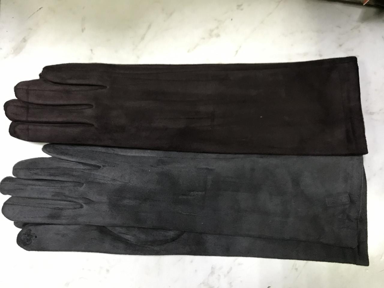 """Перчатки женские эко замша удлиненные""""Сенсор"""" для телефонов серые и коричневые"""