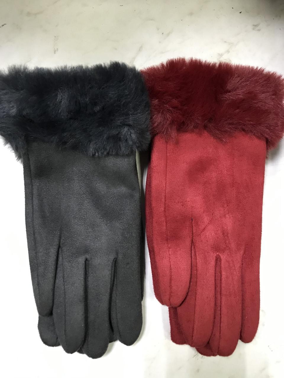 Подростковые перчатки эко замша. на: флисе серые и коралловые