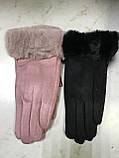 Подростковые перчатки эко замша. на: флисе серые и коралловые, фото 3