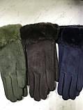 Подростковые перчатки эко замша. на: флисе серые и коралловые, фото 4