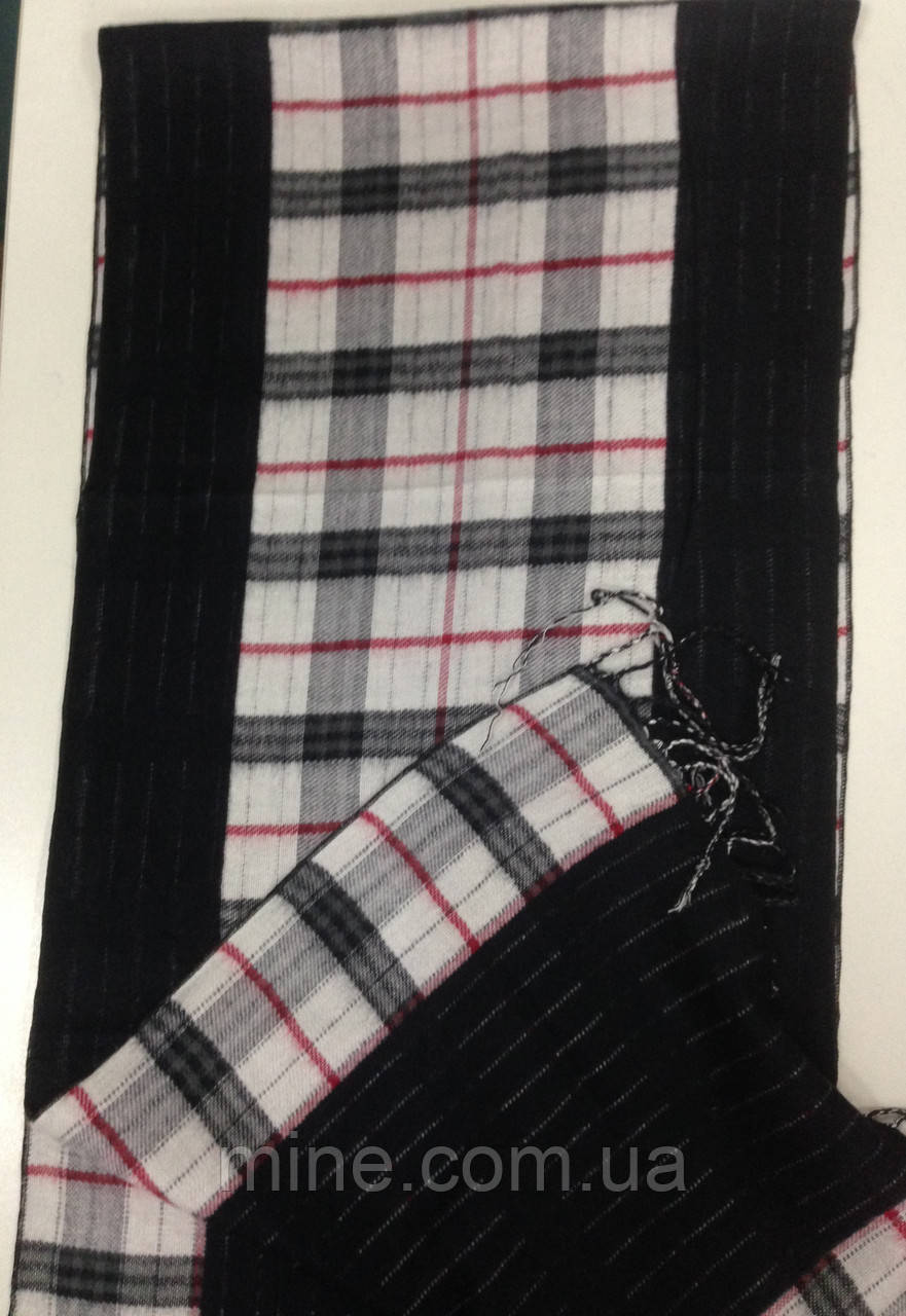 Кашемировый двухсторонний  шарф в клетку  цвет черный с белым