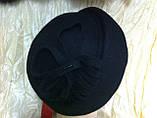 Черный берет из фетра с диагональной складкой Польша, фото 2