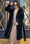 Чорна смушева жіноча шуба розміри: S, M, L, фото 3