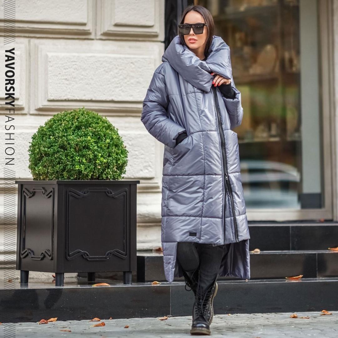 Женское пальто с большим воротником : S, M, L, XL. светло серое