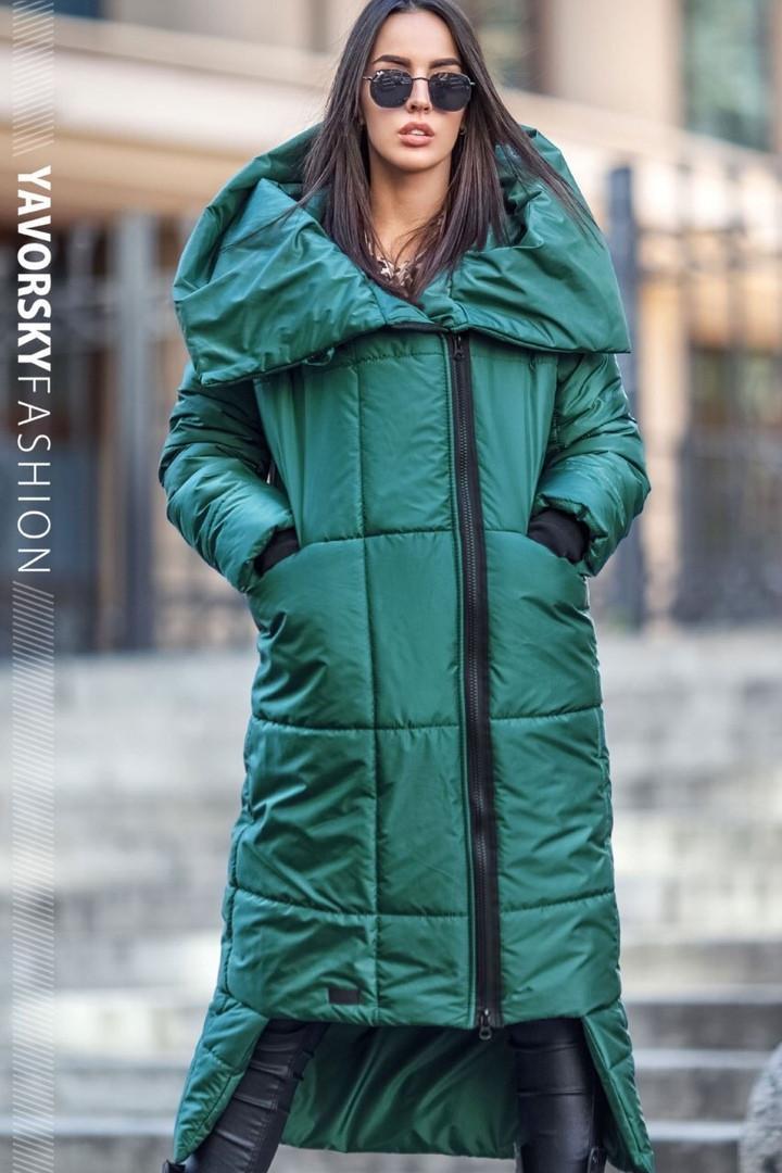 Женское пальто с большим воротником : S, M, L, XL. цвет зеленый