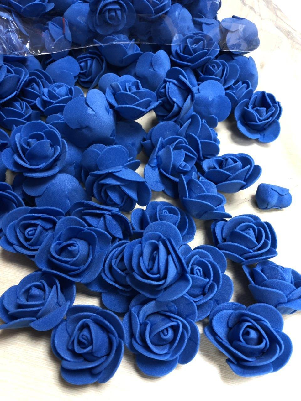 Розы из латекса, синие (ФОМ, FOAM) 500 шт пачка (для мишек)