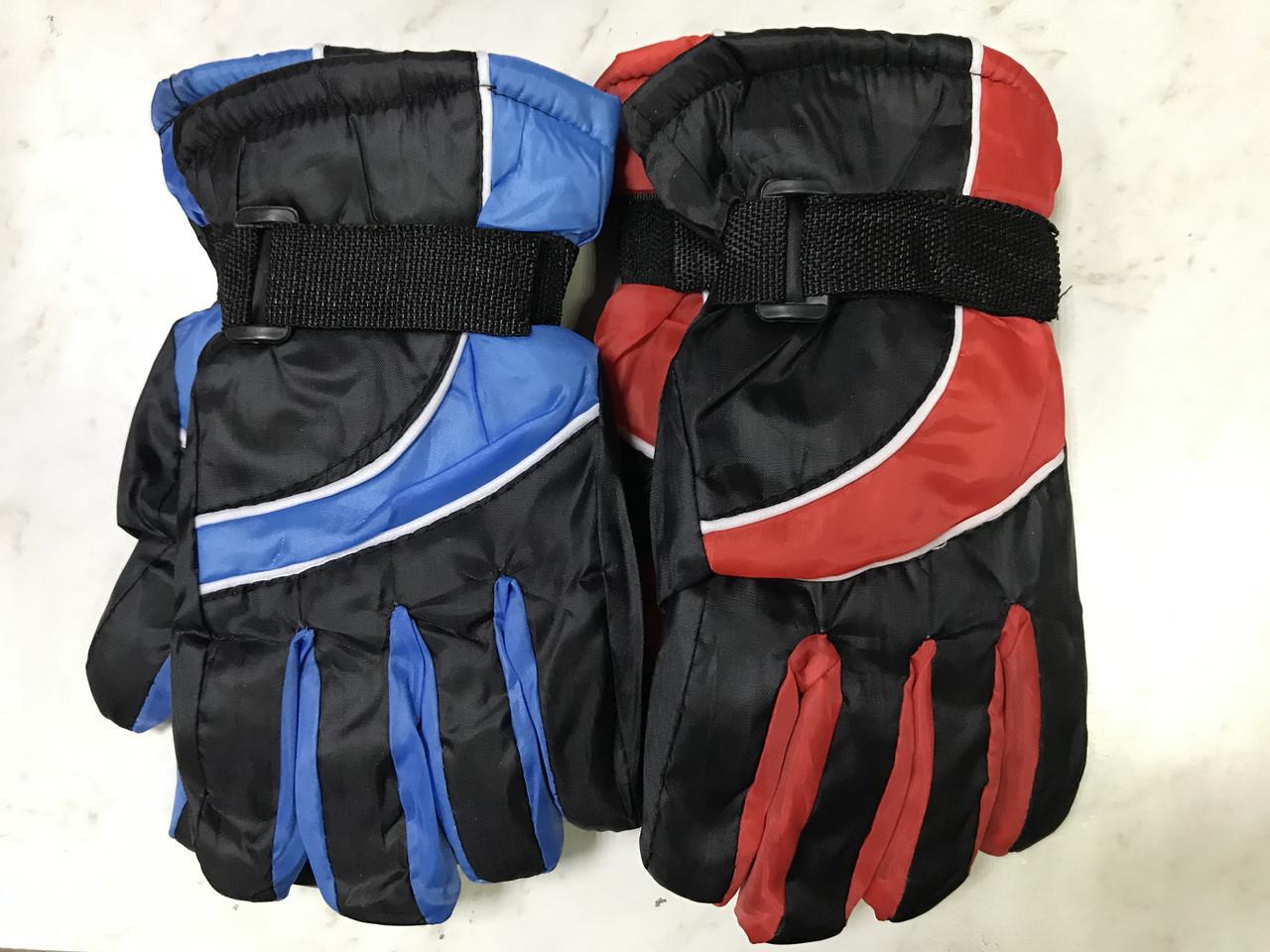 Подростковые лыжные перчатки плащевка. на: флисе цвет голубой и красный