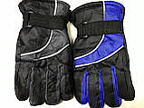 Подростковые лыжные перчатки плащевка. на: флисе цвет голубой и красный, фото 2