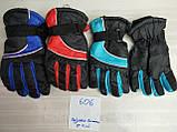 Подростковые лыжные перчатки плащевка. на: флисе цвет голубой и красный, фото 3