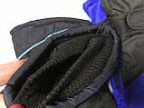 Подростковые лыжные перчатки плащевка. на: флисе цвет голубой и красный, фото 4