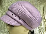 Женская объёмная формованная кепка цвет серо-бежевая, фото 5