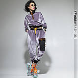 Спортивный молодежный костюм из велюра размеры: S/M, L/X Lцвет светло серый, фото 2