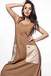 Молодежное платье  лен хлопок размер S, M, L цвет бежевый и красный, фото 3