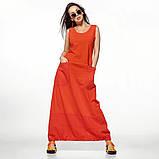 Молодежное платье  лен хлопок размер S, M, L цвет бежевый и красный, фото 6