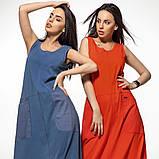Молодежное платье  лен хлопок размер S, M, L цвет бежевый и красный, фото 9