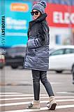 Светло серая куртка из плащевой ткани + эко мех кролика  S/M, L/XL., фото 2