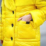 Светло серая куртка из плащевой ткани + эко мех кролика  S/M, L/XL., фото 9