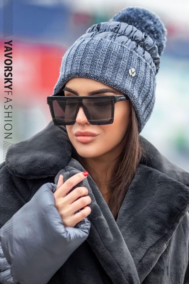 Женская  шапка комбинированная размер 54-58 см цвет серый и оливковый