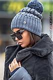 Женская  шапка комбинированная размер 54-58 см цвет серый и оливковый, фото 2