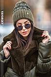 Женская  шапка комбинированная размер 54-58 см цвет серый и оливковый, фото 3