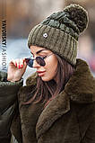 Женская  шапка комбинированная размер 54-58 см цвет серый и оливковый, фото 4