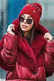 Женская  шапка комбинированная размер 54-58 см цвет серый и оливковый, фото 5