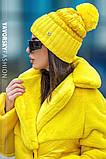 Женская  шапка комбинированная размер 54-58 см цвет серый и оливковый, фото 8