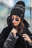 Женская  шапка комбинированная размер 54-58 см цвет серый и оливковый, фото 9