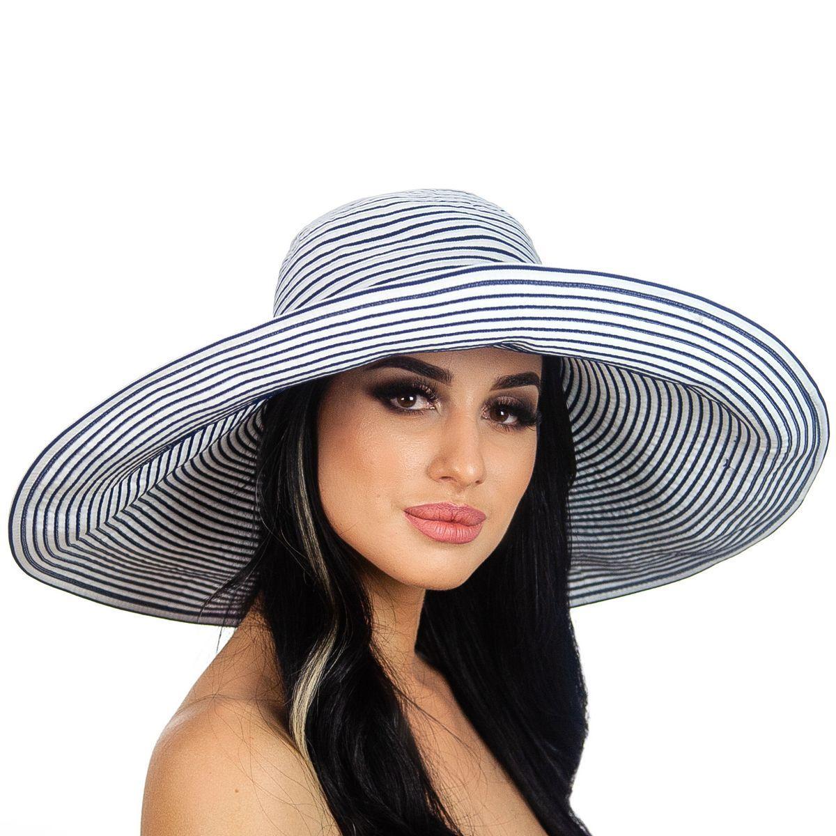 Летняя женская шляпа с моделируемыми полями в бело синюю полоску