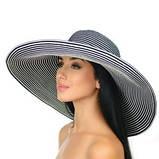 Летняя женская шляпа с моделируемыми полями в бело синюю полоску, фото 2