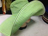 Летняя женская шляпа с моделируемыми полями в бело синюю полоску, фото 3