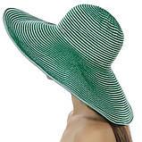 Летняя женская шляпа с моделируемыми полями в бело синюю полоску, фото 4