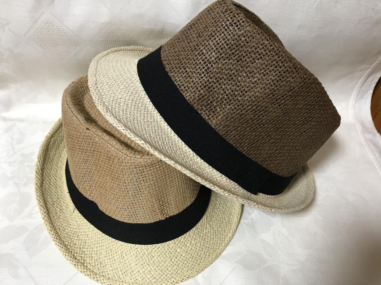 Шляпа формы федора из соломки в коричнево-бежевых тонах