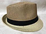 Шляпа формы федора из соломки в коричнево-бежевых тонах, фото 3