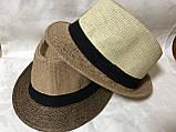 Шляпа формы федора из соломки в коричнево-бежевых тонах, фото 4