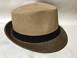 Шляпа формы федора из соломки в коричнево-бежевых тонах, фото 5