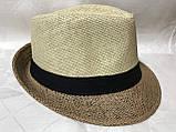 Шляпа формы федора из соломки в коричнево-бежевых тонах, фото 6