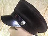 Картуз из коричневого драпа с кожаным хлястиком цвета синий и бордовый, фото 2