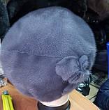 Норковая шапка-берет цветок розы серо-голубой, фото 3