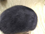 Норковая шапка-берет цветок розы серо-голубой, фото 6