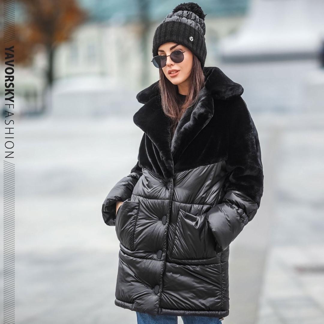 Черная куртка плащевая ткань и эко мех кролик S/M, L/XL